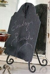 198 at Inglenook Decor. Hand forged iron easel with custom cut slate ...