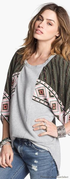 Boho Chic...This is amazing, I have a similar shirt without the sweatshirt area..wonder if I could transform it into this..hmmm