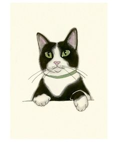 tuxedo cat art print - Velvet Paws - by matouenpeluche