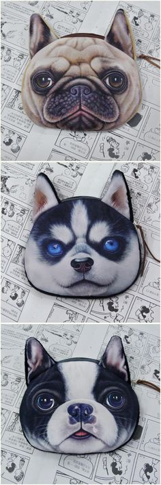 [Visit to Buy] New Fashion 3D printed Ladies Cute dog Face Animal Change Coin Purse Wallets girl Mini Zipper Bag women money pouch for pets #Advertisement