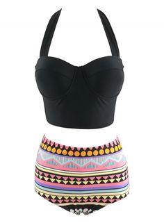 Fashion Halter Neck High Waist Tankini Swimwear