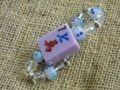 Orchid colored Mahjong tile bracelet by MahjongJewelry on Etsy