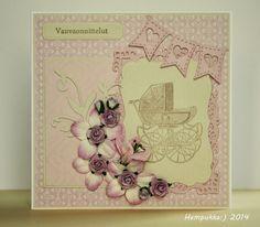 vintage baby card pink
