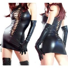 2016 Sexy Faux Leather Bodycon Fetish Babydoll Black PVC Bodysuit Open Crotch Lace-Up Porn Teddy Dress Erotic Latex Catsuit