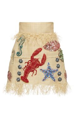 Under The Sea Raffia Mini Skirt by DOLCE & GABBANA for Preorder on Moda Operandi