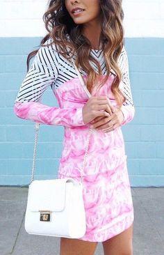 #street #style pink print dress @wachabuy