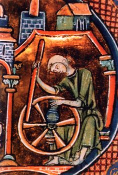 A fast potter's wheel, the stick-o-wheel. Bible moralisée first half of 13th century showing two separate processes - throwing and speeding up the flywheel.