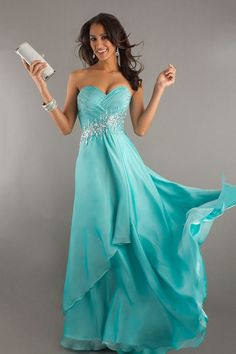 2014 Prom Gown Pleated Bodice A Line Sweep/Brush Train Zipper Closure Back With BeadingSequince