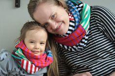 Lähiömutsi: DIY: Kreisiraitaiset rinkulahuivit lapselle ja kummitädille