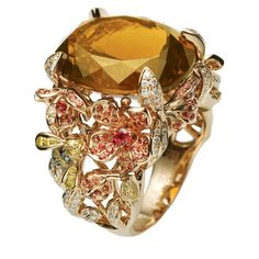Coloured gemstone and diamond ring by Green G. ♛