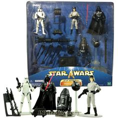 Star Wars Year 2002 Saga Series 4 Pack 4 Inch Tall Figure Set - IMPERIAL FORCES with Stormtrooper, Darth Vader, AT-ST Driver, R4-19, Tripod Cannon, Mouse Droid, Interrogator Droid and Blasters