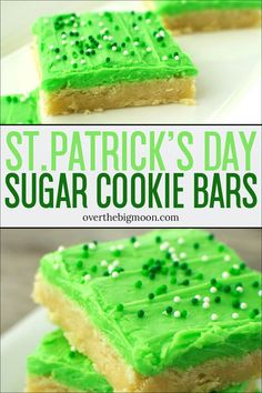 These St.Patrick's Day Sugar Cookie Bars are the perfect treat to help celebrate St. The sugar cookie bar is so delicious and has the best texture! St Patrick Day Snacks, St Patricks Day Food, Saint Patricks, St Patricks Day Deserts, St Patricks Day Crafts For Kids, St Patrick's Day Crafts, Köstliche Desserts, Delicious Desserts, Dessert Recipes