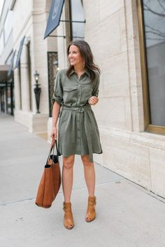 spring workwear outfit | utility shirtdress | brown dress booties | Petite Fashion Blogger Lady in Violet