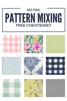 Fabric Patterns How to Mix Patterns A No Fail Pattern Mixing Cheatsheet - Pattern Mixing creates a layered and cozy look with little effort. This beginners guide is a simple how to mix patterns guide with a FREE cheatsheet. Mixing Patterns Decor, Fabric Patterns, Pattern Mixing Outfits, Diy Origami, Diy Projects Cans, Sewing Projects, Sewing Tips, Farmhouse Fabric, No Sew Curtains