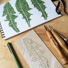 Some leaves just for fun #linocut #workinprogress #dandelion #mydesk #zuza_misko