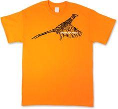 Rooster Pheasant, Modern Wild Sketch Design, Blaze Orange Short Sleeve T-Shirt