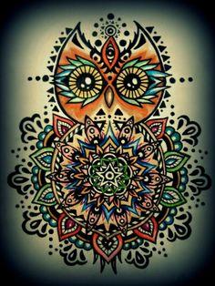 Owl and Moon Crafters - Healing crystals photo: Owl Mandala