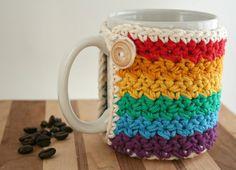 Crochet Cup Cozy - Coffee Cup Cozy - Rainbow - Mason Jar Cozy - Koozie - Wooden Button
