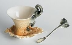 Whimsical Teapots and Tea Cups! Elephant Cup and Saucer with Spoon