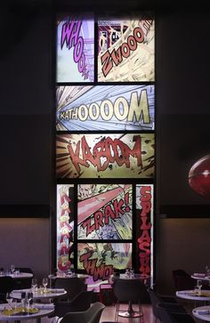 Cool idea for decor-,Stained glass, comic book style in Paris' Palais de Tokyo | via My Modern Met