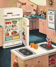 1950s Decor, Vintage Decor, Vintage Designs, Vintage Art, Vintage Homes, Mid Century Decor, Mid Century House, Vintage Appliances, White Appliances