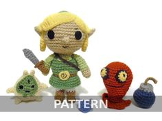 PATTERN Link Legend of Zelda with Accessories Sword Navi Makar Bomb ChuChu Crochet Plushes PDF