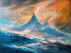 ESTIVAL 1604 10  Mer agitée  Acrylic orig. painting unique, multicolor sea boat