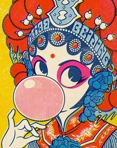 a slice of heaven // twenty-four seven Chinese Opera, Chinese Art, Art And Illustration, Illustrations, Japanese Pop Art, Art Chinois, Chinese Cartoon, Art Asiatique, Art Japonais