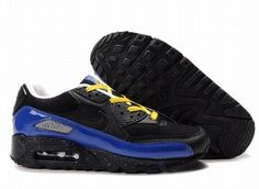 on sale 902ae 3b4cb Ken Griffey Shoes Nike Air Max 90 Black Blue Yellow  Nike Air Max 90 -  Speckle design makes the midsole of the Nike Air Max 90 Black Blue Yellow  shoes turn ...