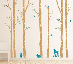 Birch Tree decal with Flying Birds LG set, Birch trees, Forest friends, Nursery Birch Trees Wall Vinyl. $84.00, via Etsy.