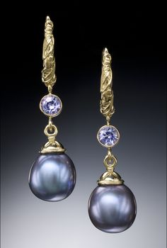 Conni Mainne-Fabulous purple pearl earrings set in 18k with tanzanites