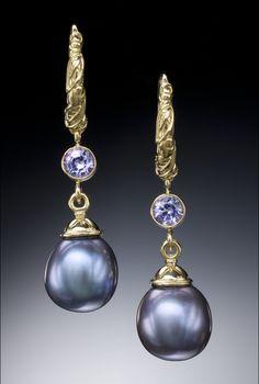 Conni Mainne-Fabulous purple pearl earrings set in 18k with tanzanites