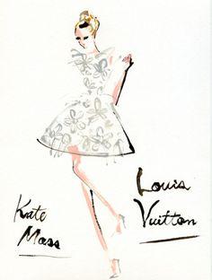 """""""Louis Vuitton: Spring 2012 RTW"""" ルイ・ヴィトンのショウにケイト・モス(kate Moss)が登場! ベテランのオーラを放ちながらも、キュートな雰囲気はさすが。"""