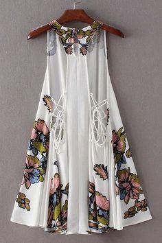 Stylish Scoop Neck Floral Print Lace-Up Asymmetrical Dress For Women Dress Skirt, Dress Up, Short Dresses, Summer Dresses, Dresses 2016, Fall Dresses, Asymmetrical Dress, Spring Summer Fashion, Dress To Impress