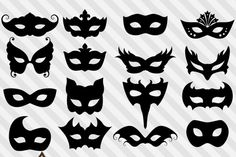These elegant Venetian mask silhouettes are perfect for your creative digital or print projects! Use them for Mardi Gras, Carnivale, prom or Masquerade props. There are 16 individual graphics. Each image is packed as a high resolution (300 dpi) PNG with transparent background. Masks measure 6