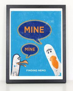 Finding Nemo - Seagull Mine Mine - Minimalist Movie Print on Etsy, $12.00