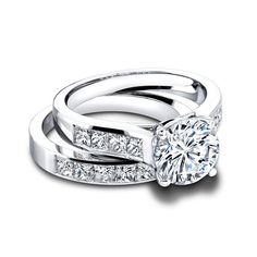 White Gold Wedding Band Round Princess Ct Diamond Engagement Ring in Jewelry & Watches, Engagement & Wedding, Engagement/Wedding Ring Sets, Diamonds & Gemstones Diamond Anniversary Bands, Wedding Anniversary Rings, Wedding Band Sets, Diamond Wedding Bands, Wedding Rings, Engagement Rings Channel Set, Engagement Bands, Solitaire Engagement, Simulated Diamond Rings