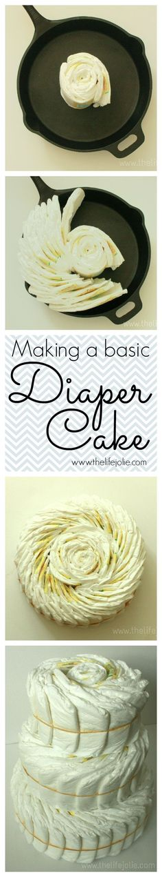 How to make a diaper cake- this is a basic tutorial for the cake before you decorate it- it's super easy and makes a great shower or baby gift!