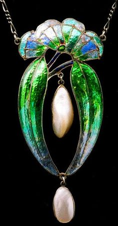 FREDERICK JAMES PARTRIDGE 1877-1942 Attrib. Arts & Crafts Pendant. Silver, enamel & pearl. English. Circa 1905.