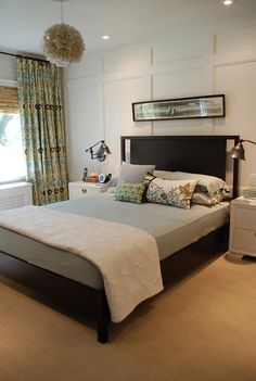 this is exactly would our bedroom would look like with the amazing paneling and curtains hung high. LOVE IT