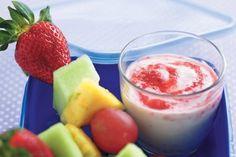 Fruit kebabs with yoghurt swirl dip