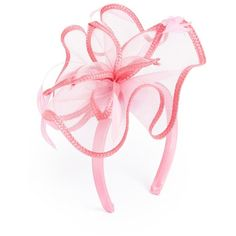 August Hat Feathered Floral Fascinator Headband ($20) ❤ liked on Polyvore featuring accessories, hair accessories, pink, pink flower headband, pink fascinator, flower headband, floral headband and headband hair accessories