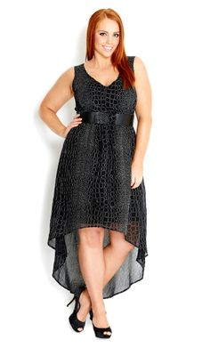 City Chic - METALLIC DRESS WITH BELT - Women's plus size fashion #citychic #citychiconline #newarrivals #plussize