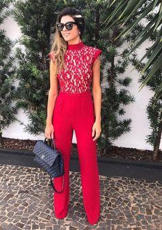 Macacão longo vermelho dora - Cloude - Mabô Boutique - Loja especializada em moda feminina