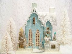 Love the roof ornamentation on this Cody Foster reproduction Putz house Shabby Chic Christmas, Blue Christmas, Little Christmas, All Things Christmas, Christmas Home, Vintage Christmas, Christmas Holidays, Christmas Crafts, Christmas Decorations