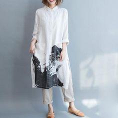 Art Ink Linen Shirt Dress