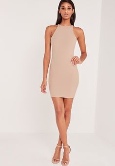 Missguided - Carli Bybel Ribbed Square Neck Bodycon Dress Nude Nude Bodycon  Dresses 9b294470a