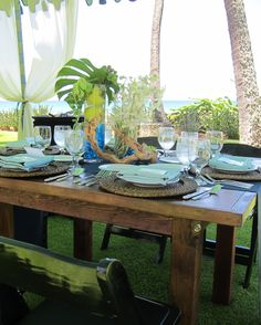 Very natural Blue diamonds and apples on a farm table for this garden luncheon.
