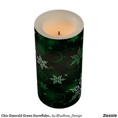 Chic Emerald Green Snowflake Motif Flameless Candle Holiday Cards, Christmas Cards, Christmas Decorations, Flameless Candles, Pillar Candles, Christmas Items, Christmas Card Holders, Emerald Green, Decorating Your Home