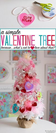 Super easy, super sweet Valentine tree! Why? Why NOT?! Make that cute tree a year round thing, I say!! #valentinetree #valentinedecorations #valentinesdaydecor #dollarstorevalentinecraft #valentinecraft #DIYvalentine via @heathernest